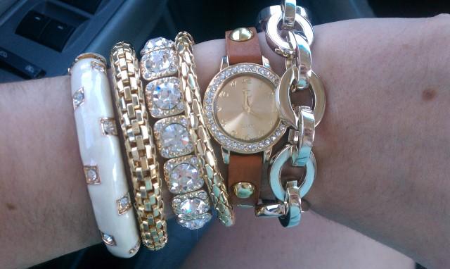 Cognac wrap watch and gold bracelets