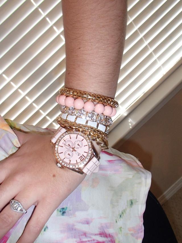 Light pink bracelet stack