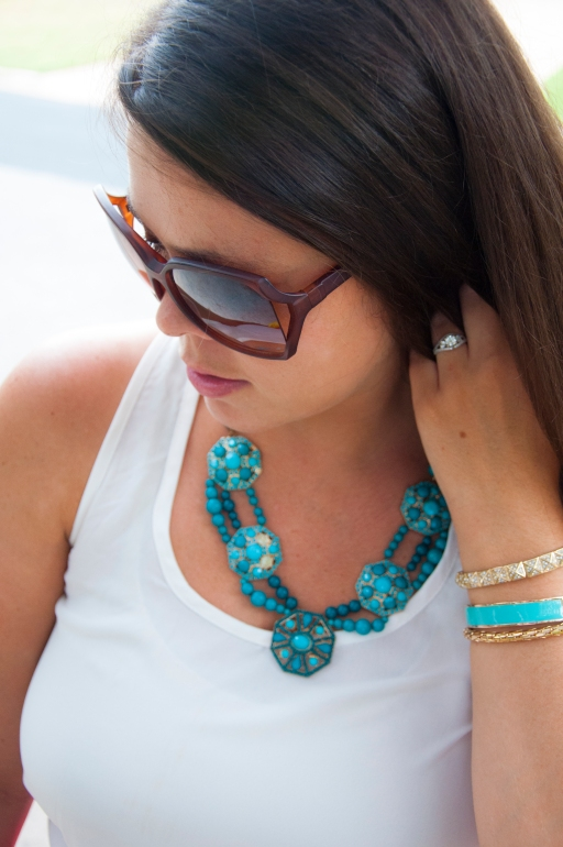 All That Glitters: Teal statement necklace