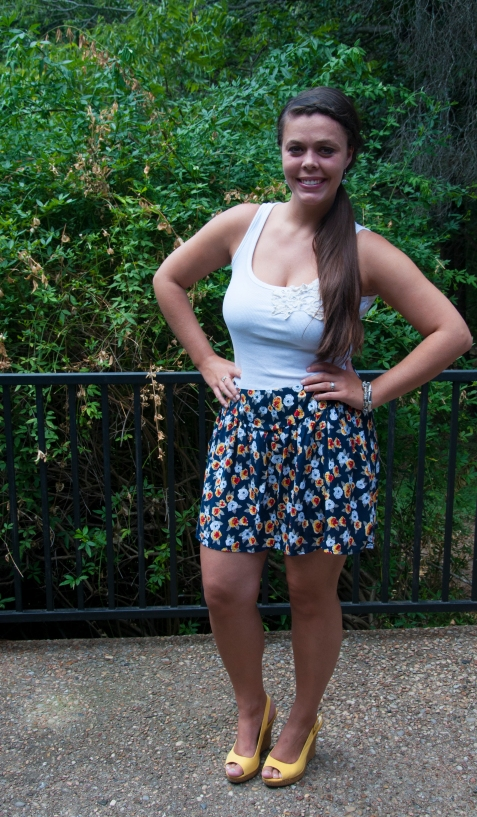 All That Glitters: Yellow Wedges and printed skirt