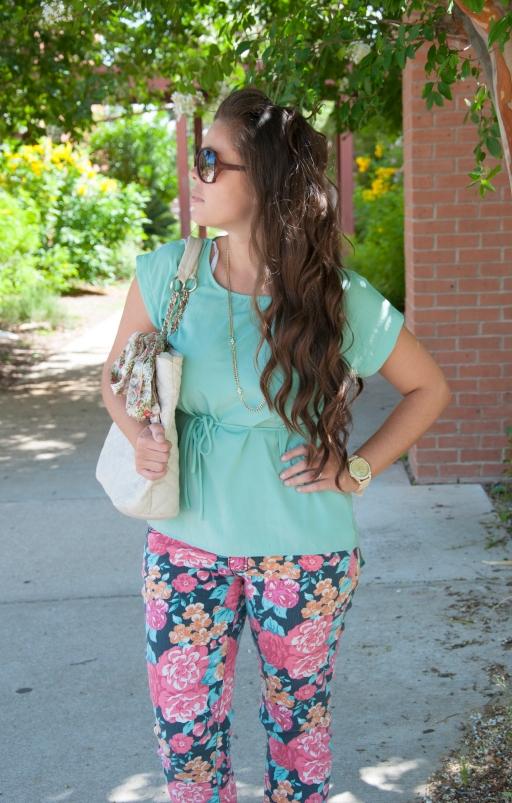Floral Pants and Teal shirt