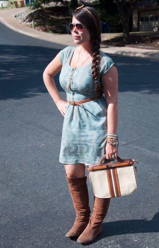 Teal dress with bow headband