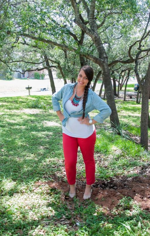 Red Pants, Chambray Shirt