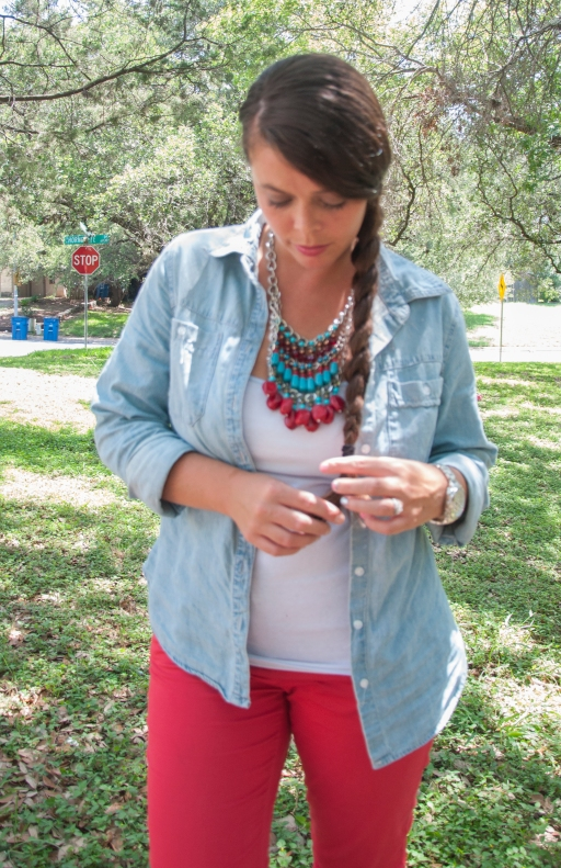 Red pants with chambray