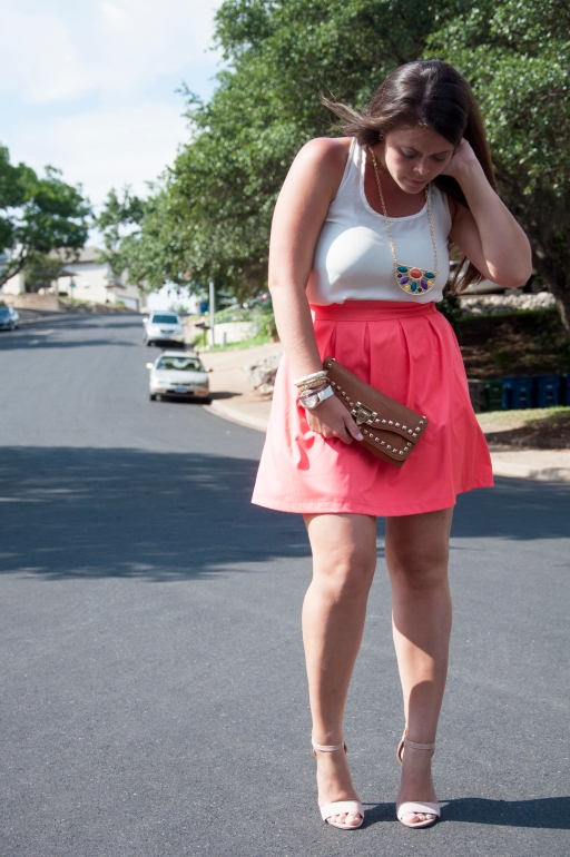 Coral skirt with statement necklace