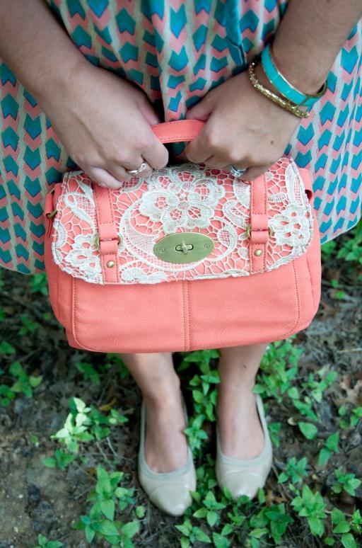 Lacey coral handbag