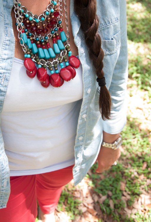 Red pants and chambray shirt