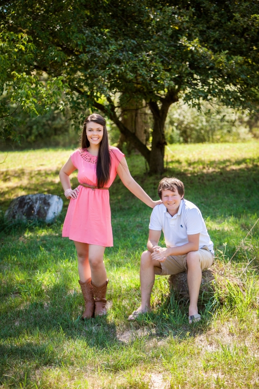 Coral Dress and Boots Engagement Pic