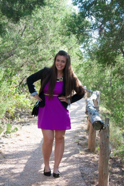 Blazer and Purple Dress