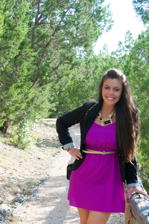 Blazer and Purple Dress1
