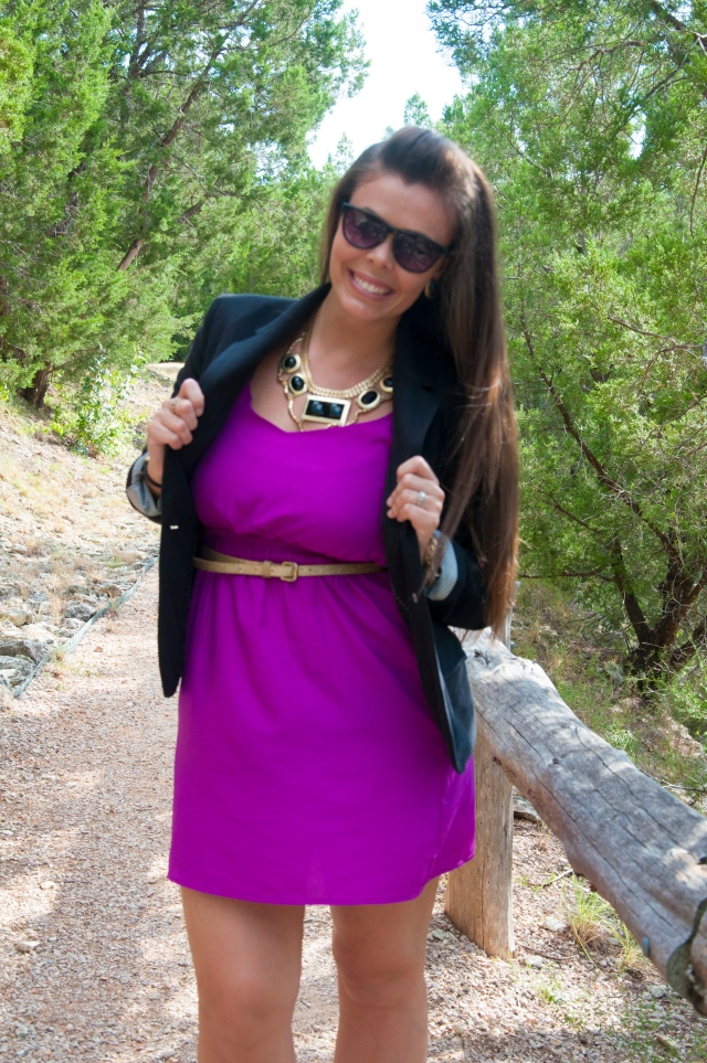 Blazer and Purple Dress5