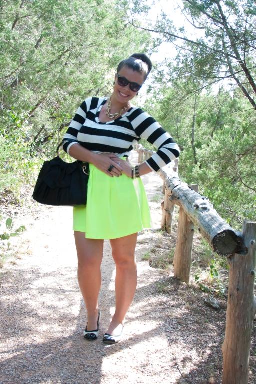 Neon Yellow Skirt & Striped Shirt