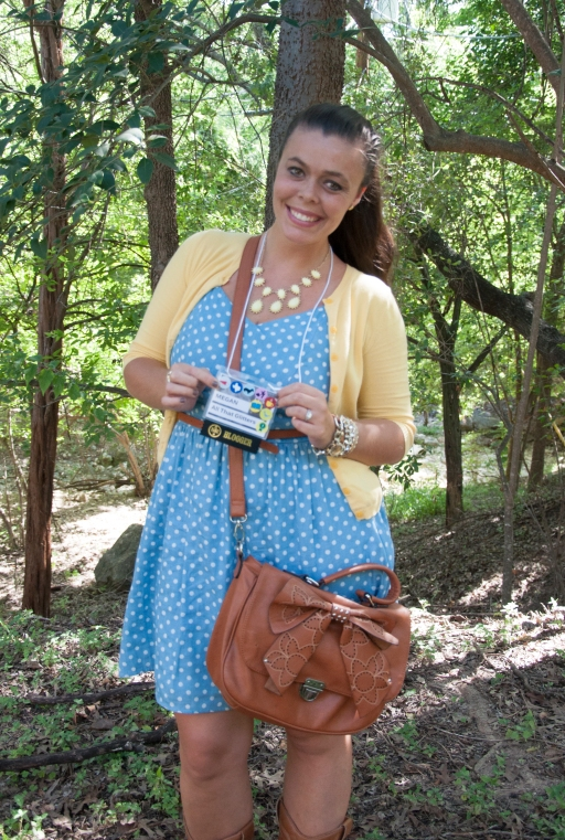 Blue Polka Dot Dress with yellow cardi