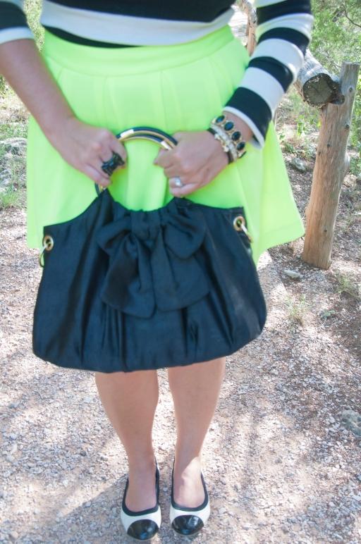 Black Bow Handbag and Neon