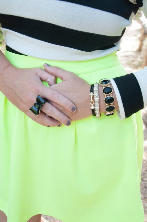 Neon skirt with black and gold
