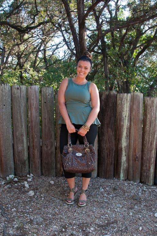 Olive Green Peplum and Leopard Handbag