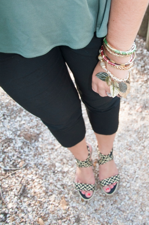 Olive Green Peplum and black pants