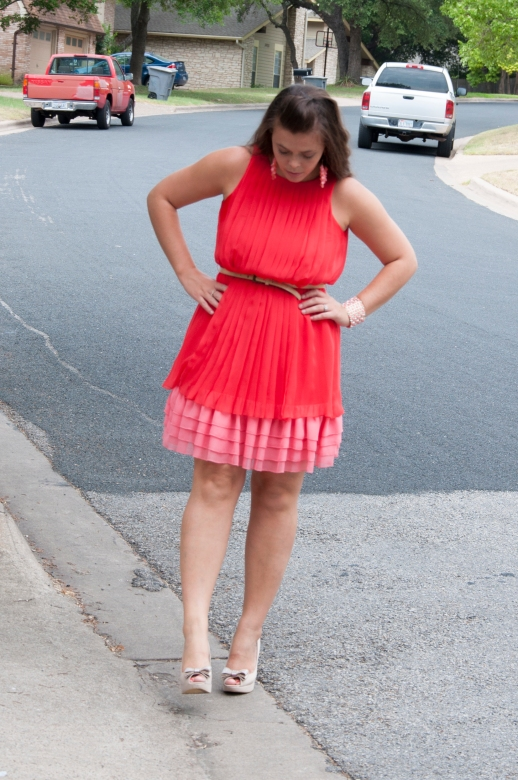 Coral Dress with nude bow pumps