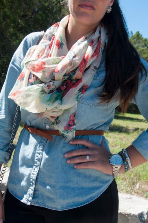 Chambray with Coral and Teal Scarf