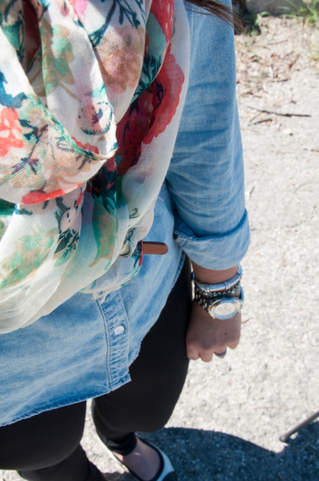Chambray with Black Leggings