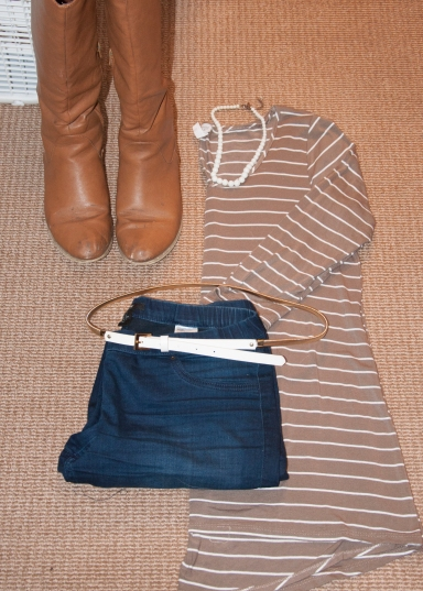 Brown Striped Top with Denim