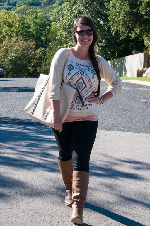 Aztec Print Shirt and Black Leggings