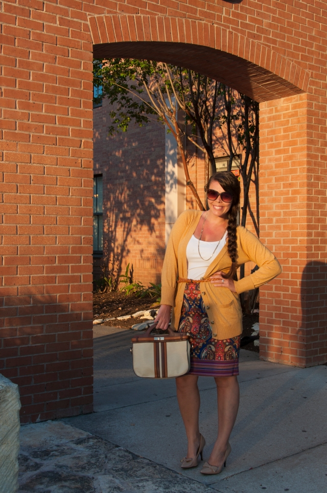 Mustard Cardigan with skirt