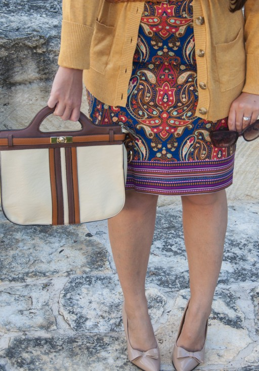 Cobalt skirt with Mustard Cardigan