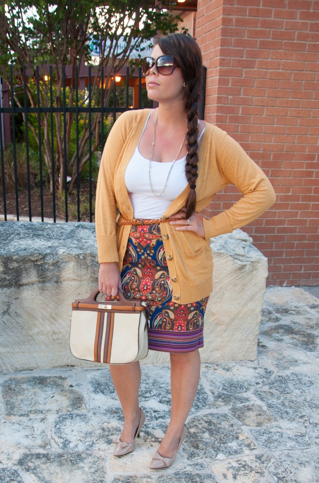 Mustard Cardigan with cobalt skirt and handbag