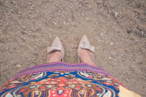Cobalt skirt and nude heels