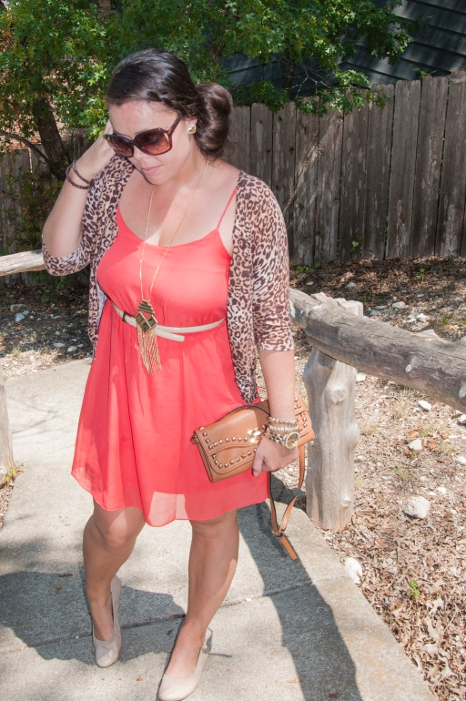 Coral dress with cheetah cardigan