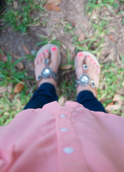 brown bedazzled sandals