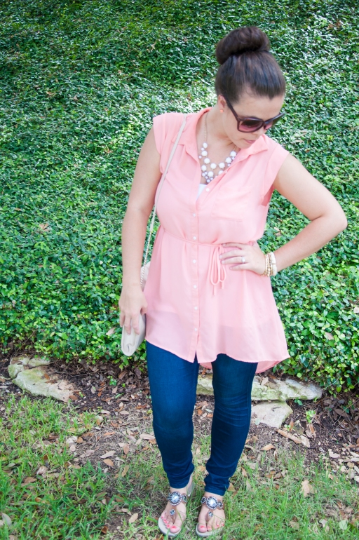 Peach shirt and mini bubble necklace