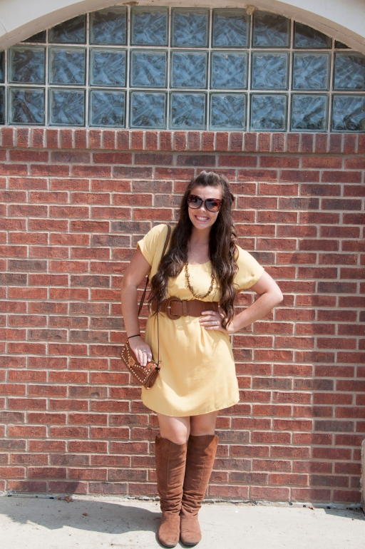 Mustard dress and brown boots