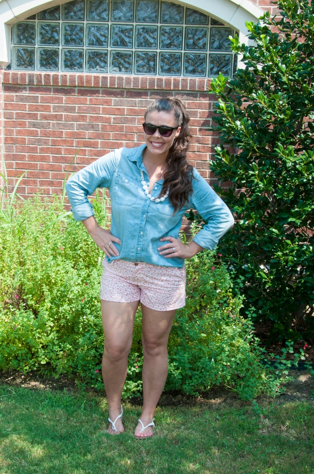 Coral shorts and chambray