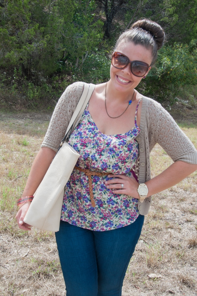 Purple Floral Tank with Sweater