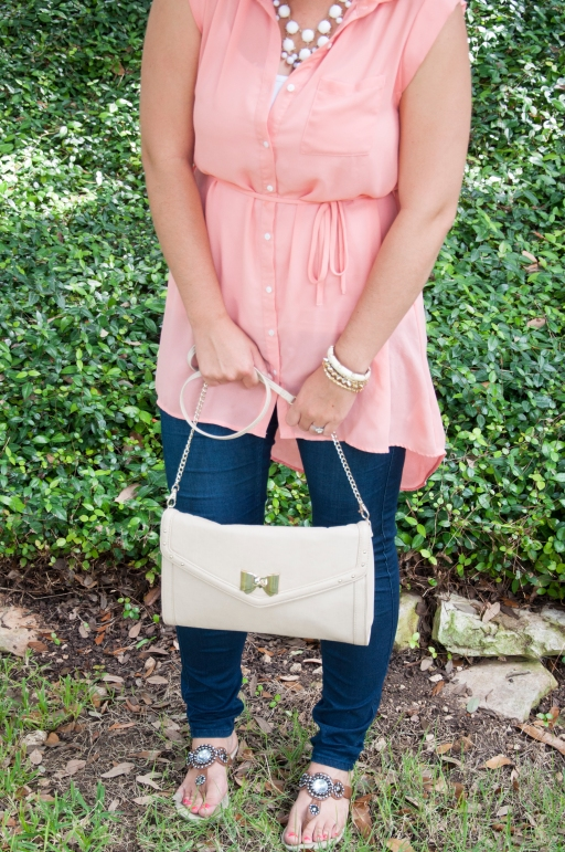 Peach top with nude clutch