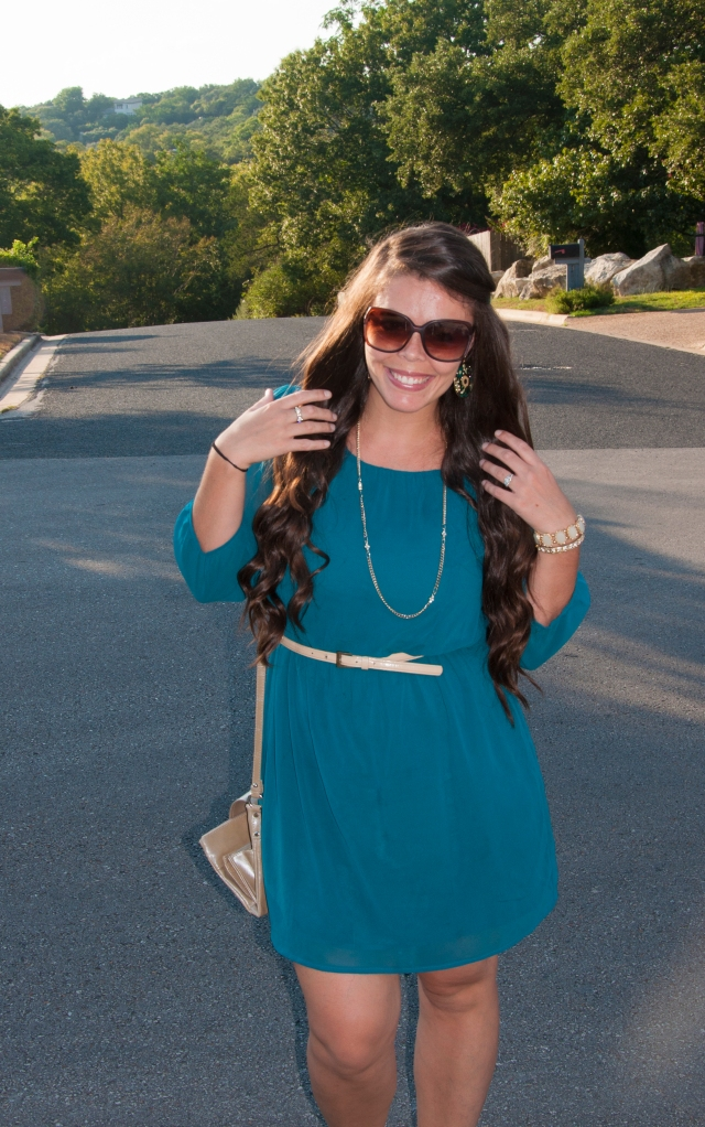 Teal dress with nude belt