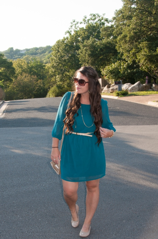 Teal dress with nude flats