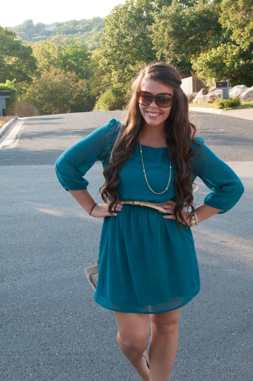 Teal dress with nude accessories