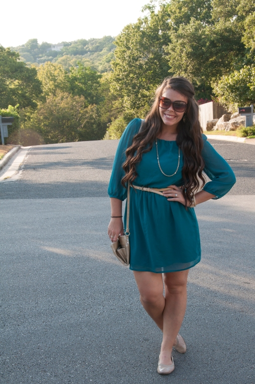 Teal dress with nude belt and flats