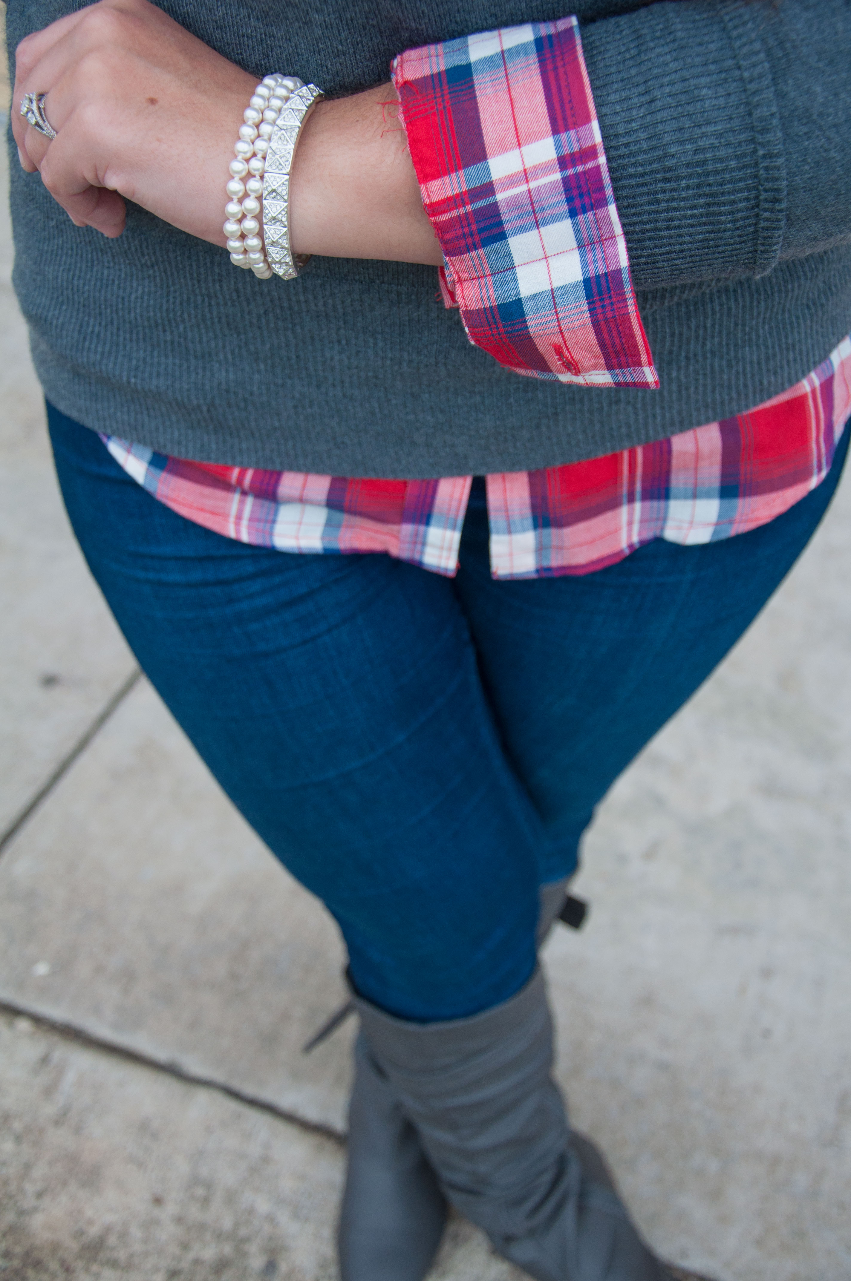 Plaid and pearls all that glitters for Plaid shirt under sweater